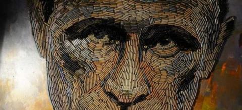 Украинская художница создала портрет Путина из оружейных гильз (6 фото)