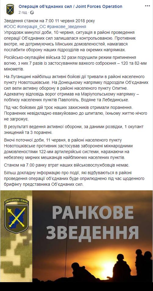 ООС: в результаті вогню українських військових бойовики зазнали значних втрат (1)