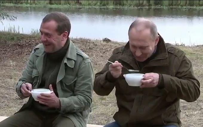 Путін і Медведєв, що поїли юшки, насмішили мережу: опубліковані фото і відео