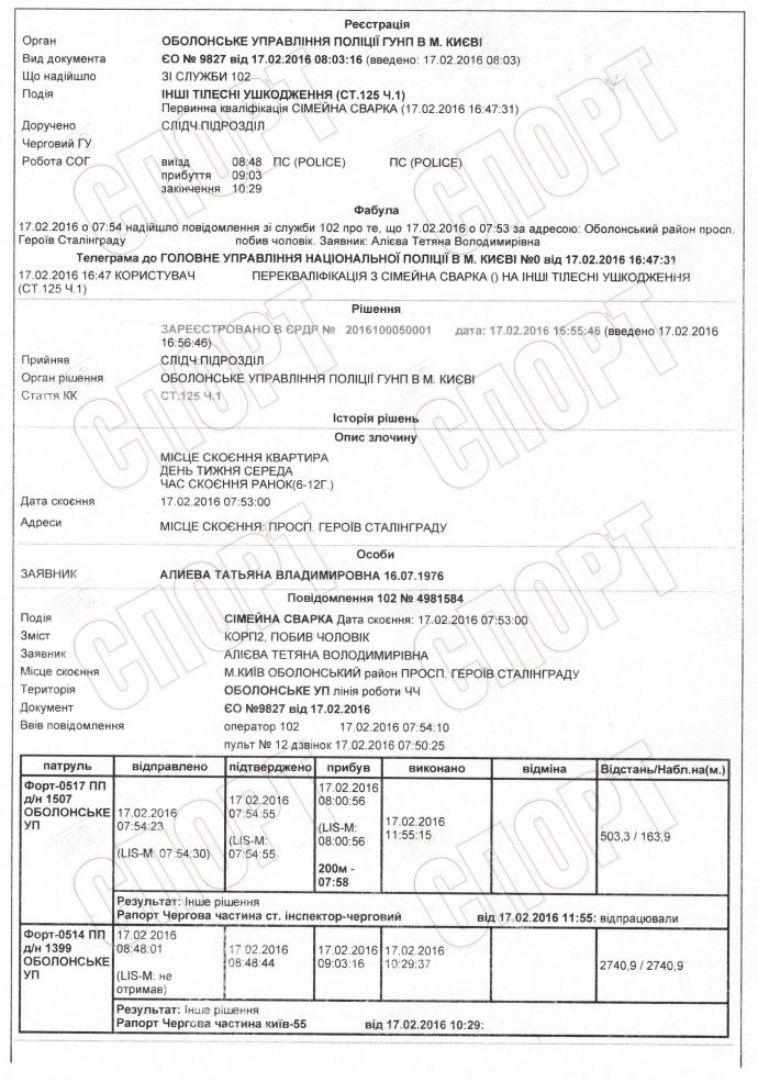 Экс-динамовец Алиев избил свою жену: опубликован документ (1)