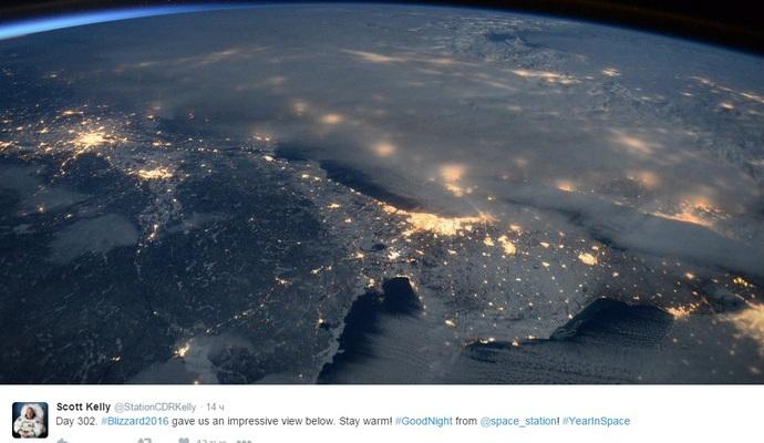 З'явилося фото сніжної бурі в США з космосу