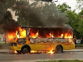 Во Львове дотла сгорела маршрутка
