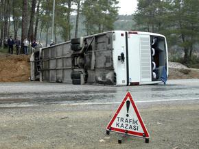 В Турции близ Антальи перевернулся автобус