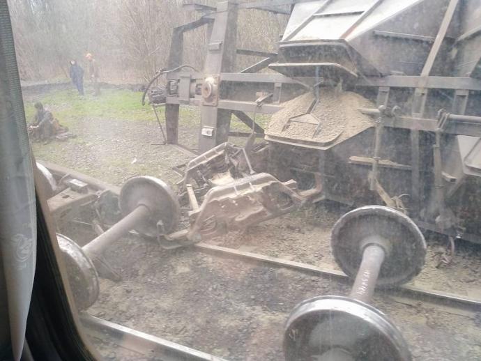 ВДонецкой области сошел срельсов грузовой состав