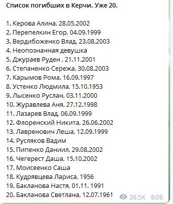 Масове вбивство в Керчі: кількість загиблих зросла до 20 осіб (1)