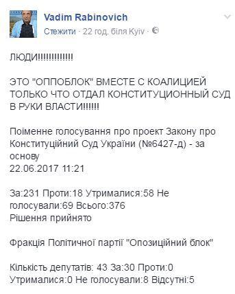 """""""Опоблок"""" вместе с коалицией отдал """"в руки власти"""" КСУ, - Рабинович (1)"""