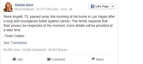 Чоловік Селін Діон не зміг перемогти в боротьбі з раком