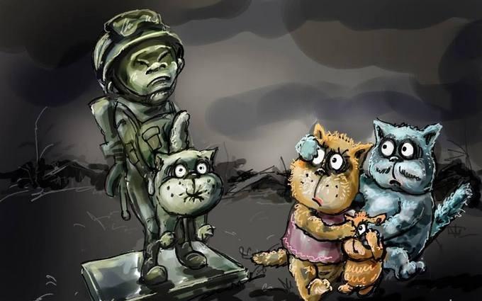 """Появилась новая карикатура на крымского """"зеленого человечка"""" с котом"""