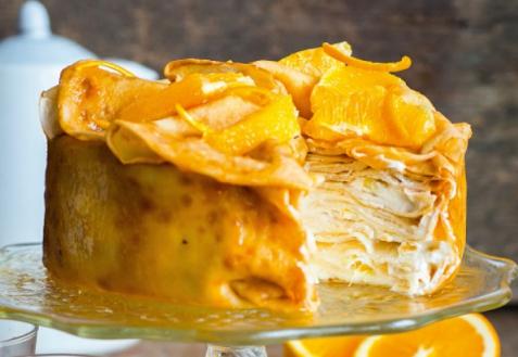Блинный торт с апельсинами