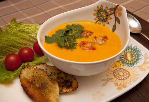 Тыквенный суп с креветками