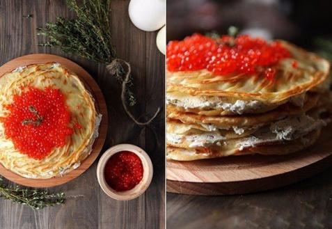 Рецепт на Новый год: Блинный торт с лососем и красной икрой