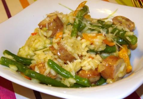 Рецепт - Ризотто с острыми колбасками