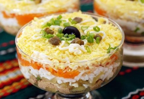 рецепты слоеных салатов с фото