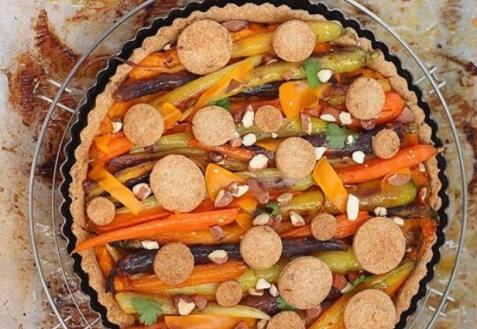 Открытый пирог с морковью и тыквой