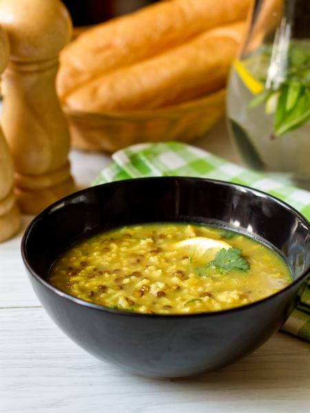 Лимонный суп из чечевицы и риса