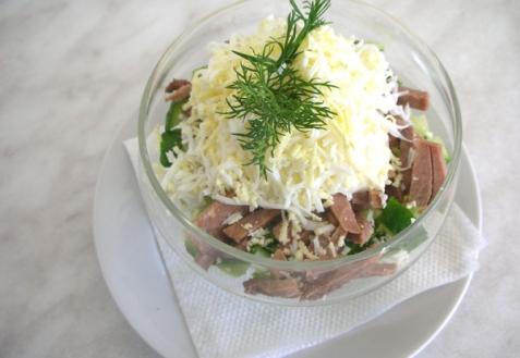 Рецепт - Салат с сердцем и грибами
