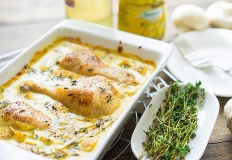 Курица в горчичном соусе с грибами