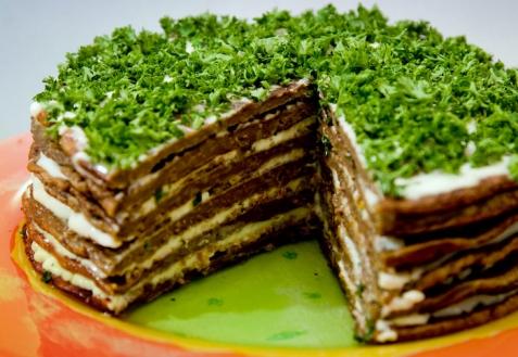 Рецепт - Печеночный торт с грибами