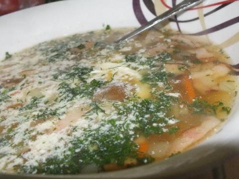 Рецепт - Быстрый грибной супчик с беконом