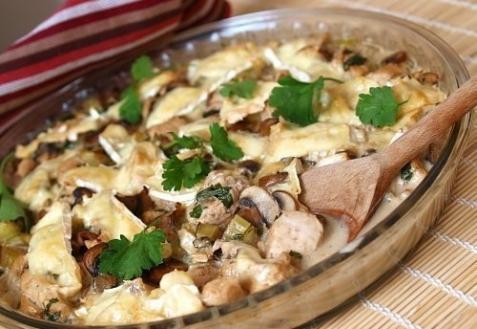 Рецепт - Курица с грибами в сливках