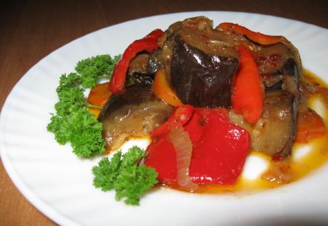 Рецепт - Соте из баклажанов с овощами