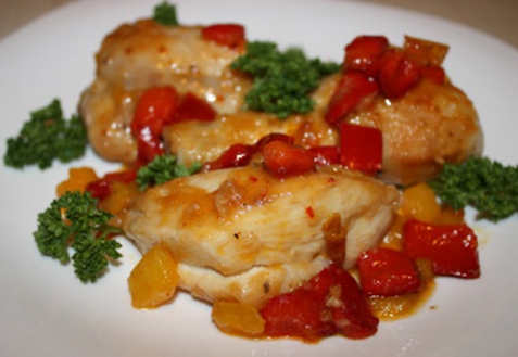 Жареная курица со сладким перцем
