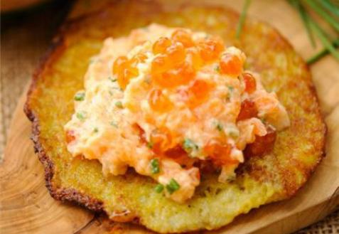 Рецепт - Драники с лососем