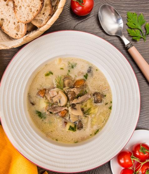 Суп из утки с капустой и грибами