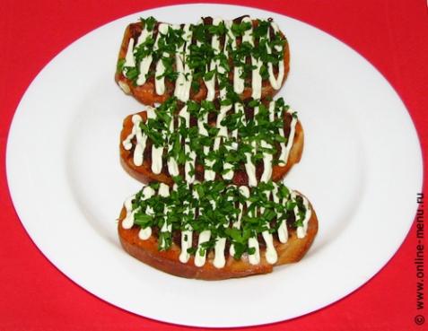 Бутерброды перевертыши с колбасой - рецепт с фото
