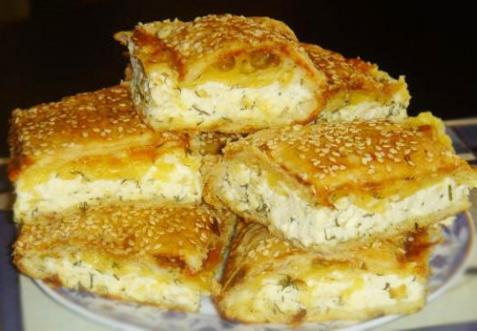 Слоеный пирог с сыром - рецепт