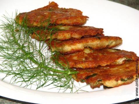 Драники (деруны) с рыбой - рецепт