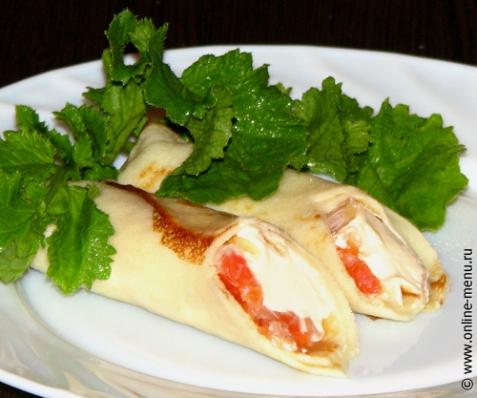 Блинчики с лососем и сливочным сыром - рецепт