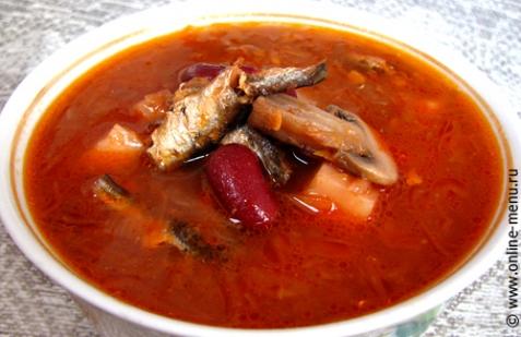рецепт супа с килькой и фасолью