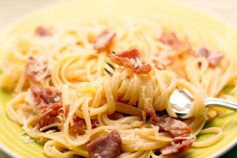 Спагетти карбонара с пармской ветчиной