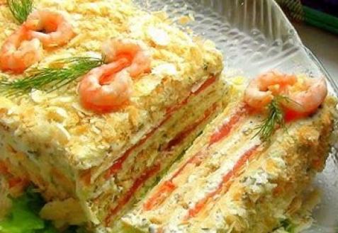 Закусочный пирог с семгой и печенью трески