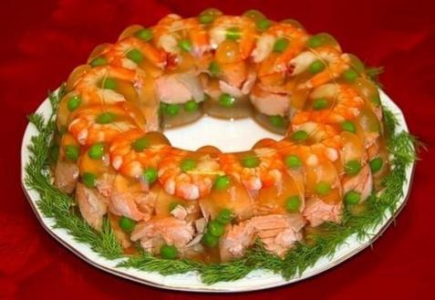 Рецепт - Заливное из семги с креветками