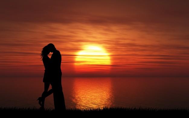 Силуэт пары, поцелуи на фоне заката небо | Бесплатно Фото