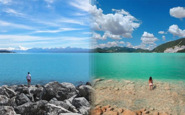 Озеро Текапо в Новой Зеландии и Озеро Вольфганг в Австрии.