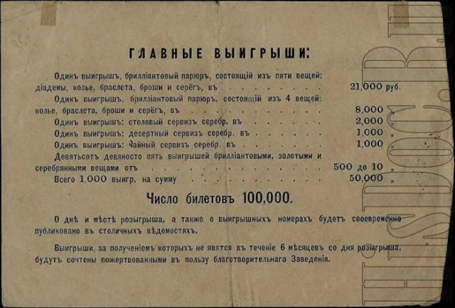 Призы лотереи в пользу Демидовского дома призрения трудящихся. 1873 год.