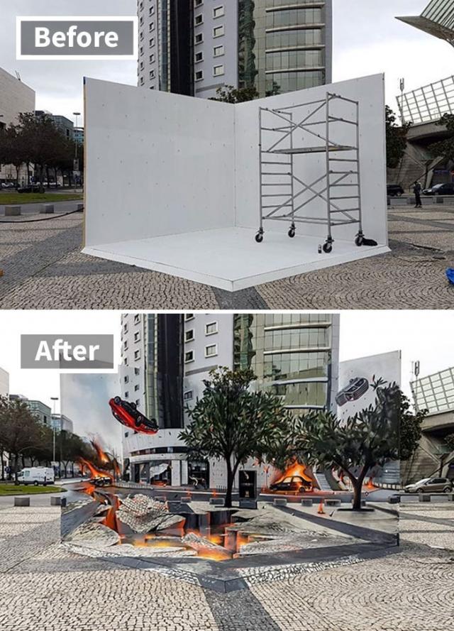 Португальский художник создает сногсшибательные 3D-рисунки на стенах города