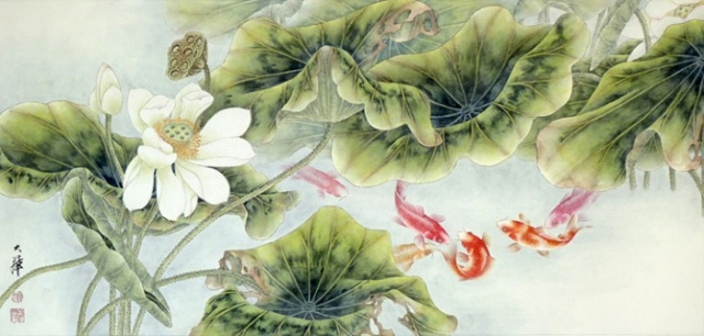 восточные пейзажи Lou Dahua -04