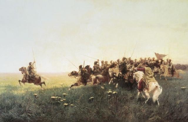 Атака запорожцев в степи. Автор: Франц Алексеевич Рубо.