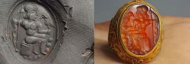 Древнее золотое кольцо с инталией и ее оттиск