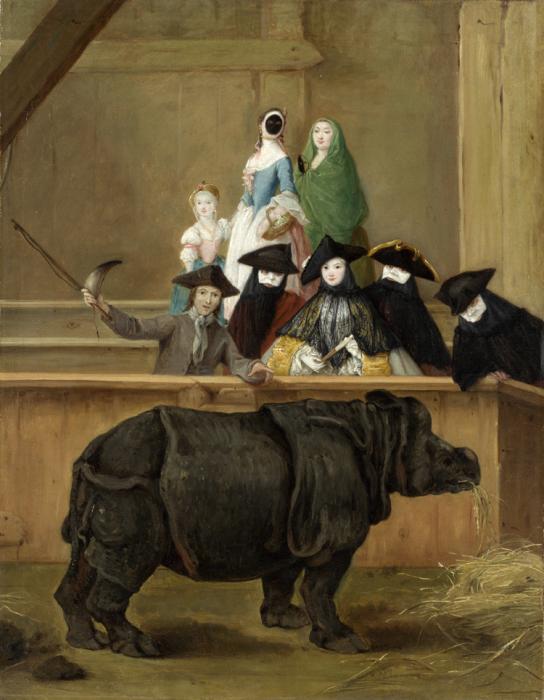 Женщина в черной маске  на картине Пьетро Лонги «Носорог Клара». Венеция, 1751 год. | Фото: en.wikipedia.org.