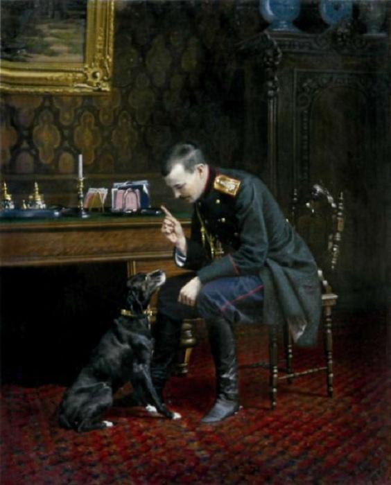 «Офицер с собакой». Автор: Бунин Наркиз Николаевич.