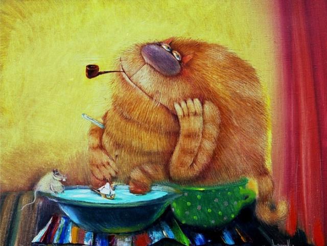 """Результат пошуку зображень за запитом """"Забавные коты художника Валерия Хлебникова..."""""""