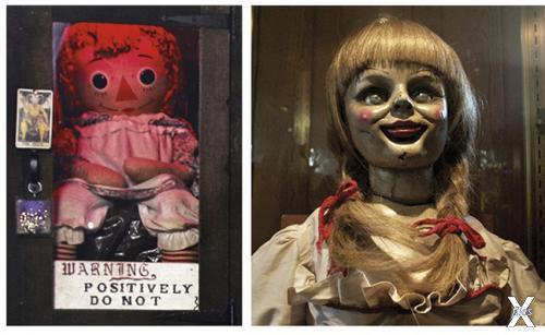 """Аннабель в своей тюрьме - застеклённой витрине, на которой висит табличка с надписью """"Не открывать"""""""