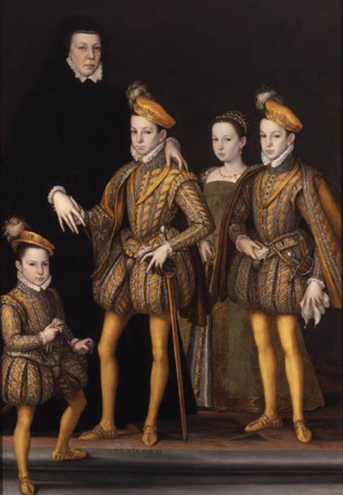 Вдовствующая королева с детьми.