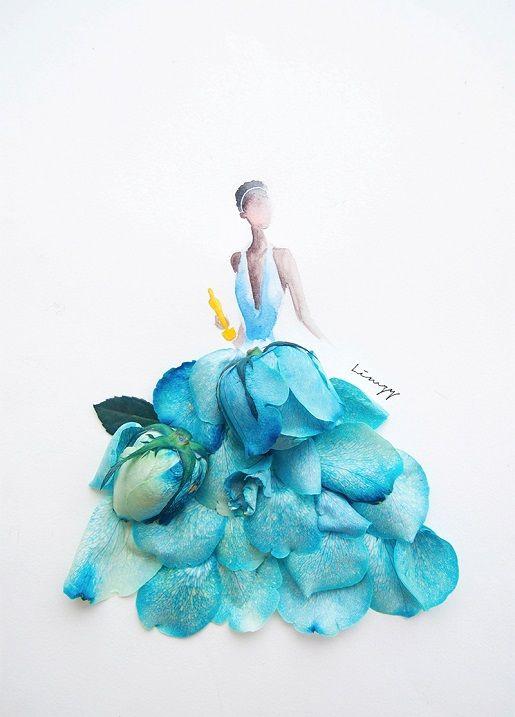 Фото: Девушка создает модные рисунки платьев из цветов и акварели (Фото)
