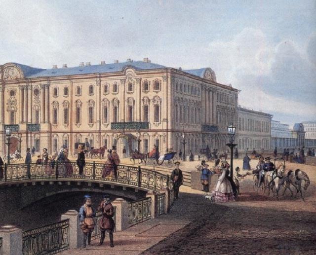 Строгановский дворец. Полицейский мост, с рисунка И.Шарлеманя